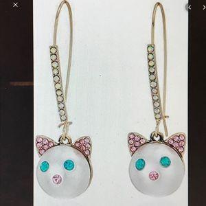 Betsey Johnson Pearl Cat Face Earrings
